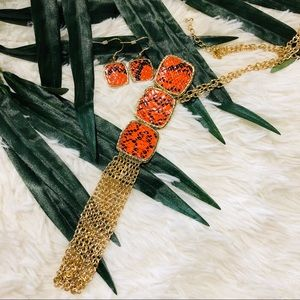 Orange Snake Print Long Statement Necklace Earring